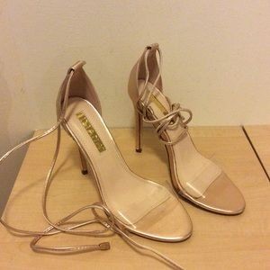 Liliana Rose Gold Clear Strap Heels size 7